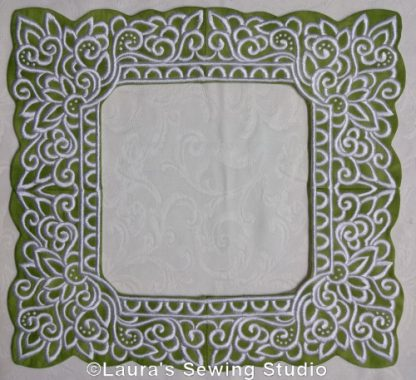 Lacy Hearts Frames in White on Green