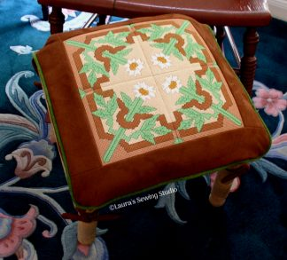 Needlepoint Machine Embroidery Project - Floral Tile #1