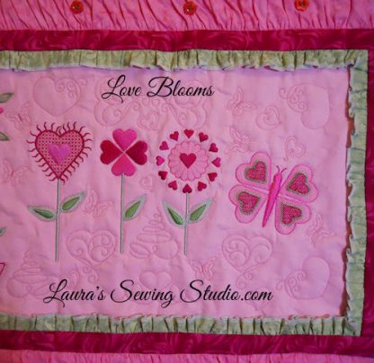 Love Blooms Collage Banner, Close Up #4 - Center with Quiltering