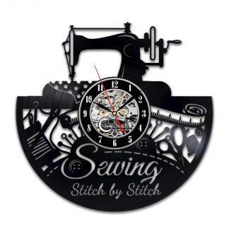 Sewing Stitch by Stitch Vinyl Wall Clock