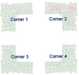 Remember that the corners are mirrored images of one another when arranging them.