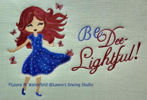 Dee, Delightful Dee, Girls, wing needle, applique, auburn, redhead, brunette, blond, 5x7, 7x11
