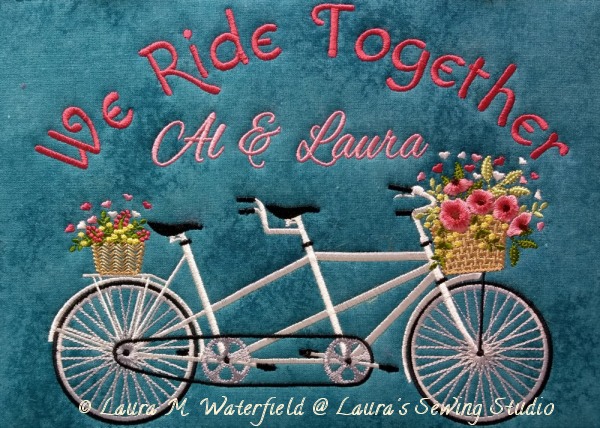 Bicycle, Tandem, Bike,Tandem Bike, machine embroidery, machine embroidery bike, machine embroidery tandem bike, 6x10, 8x11.